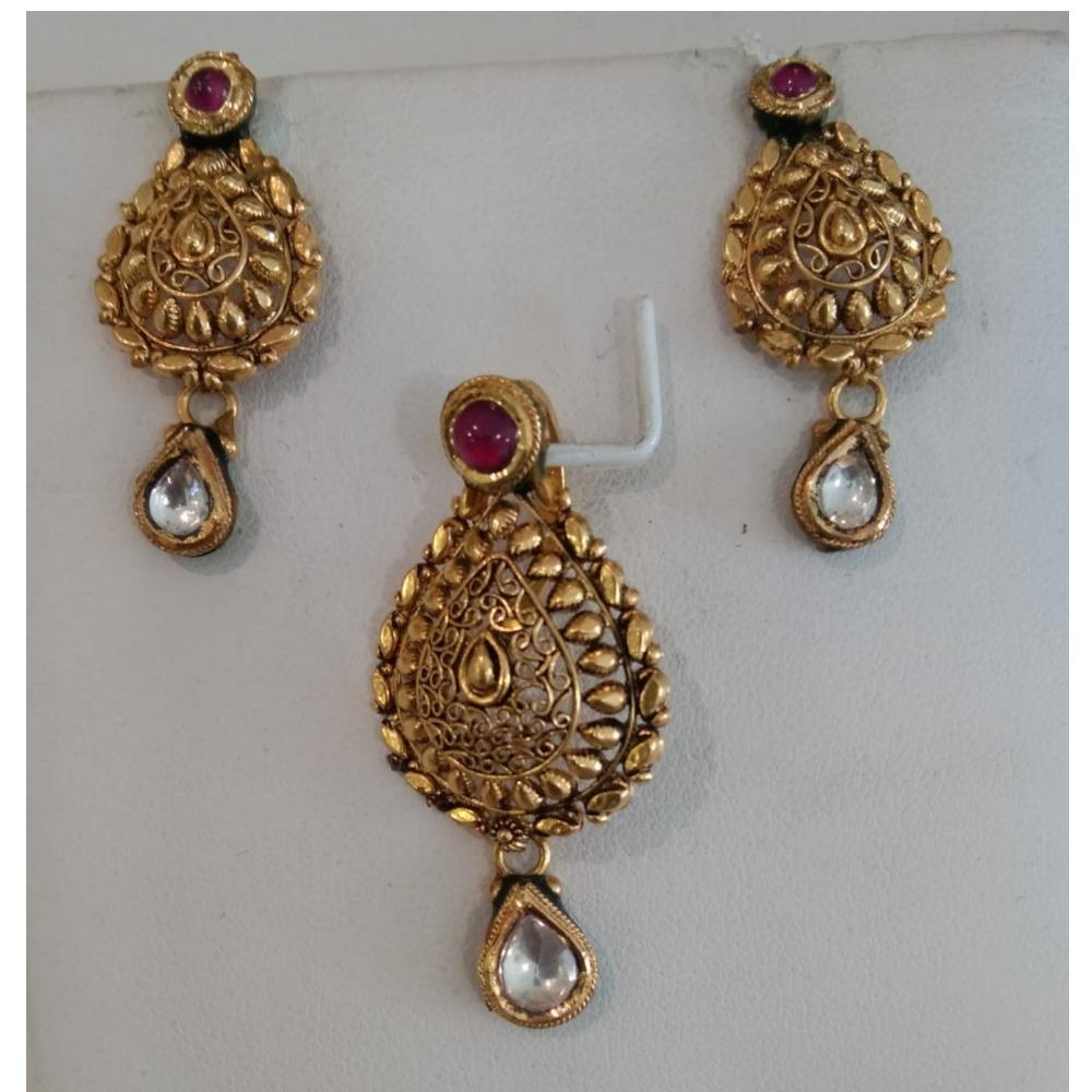 916 CZ Gold Latest Bridal Pendant Set
