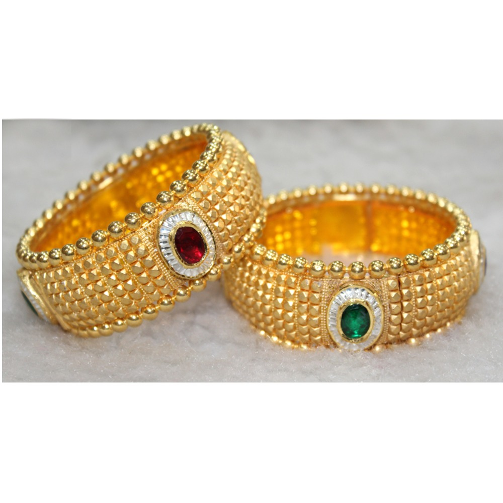 916 Gold Colorful Stone Kada