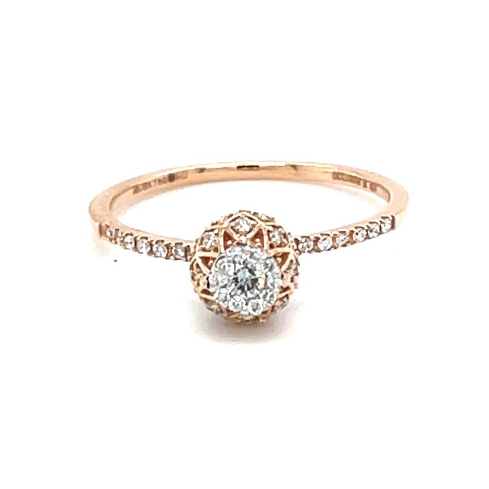 Criss Cross Vase Design ring in 18k Rose Gold - 0LR157