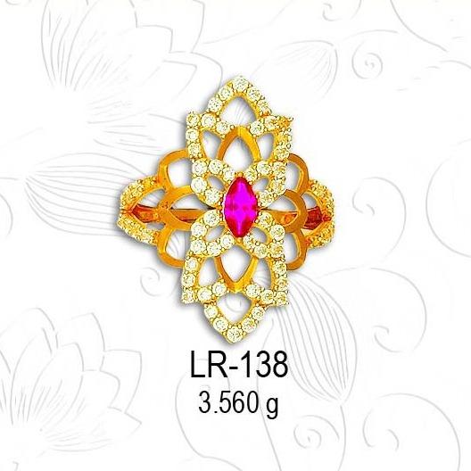 22KT Gold Traditional CZ Diamond Ladies Ring LR-138