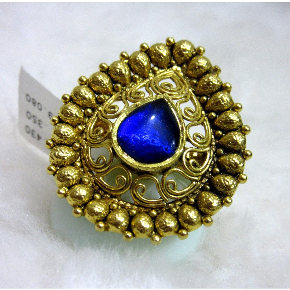 Gold rajwadi bridal blue diamond jadtar ring