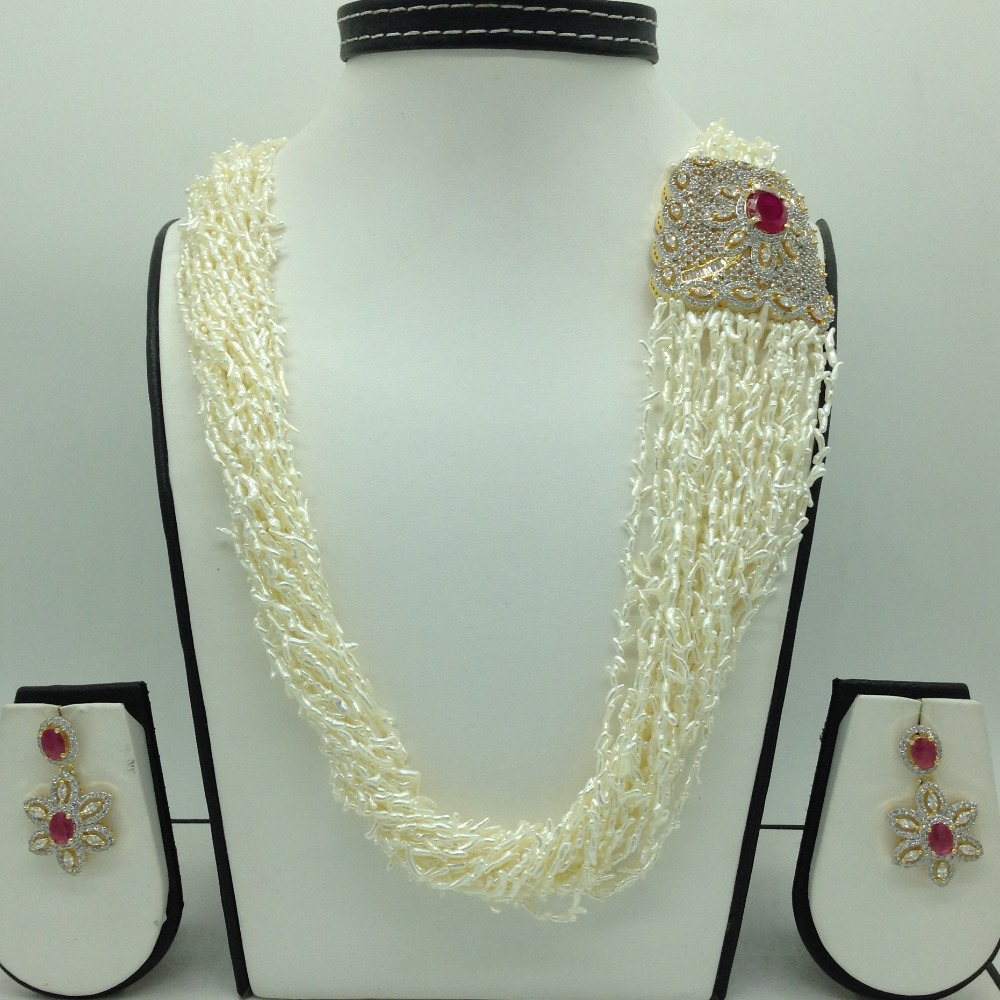 White And RedCZ BroachSet With 22Lines KC Rice Pearls Mala JPS0664