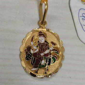 916 Gold Casting Bahuchar Maa Meenakari Pendant