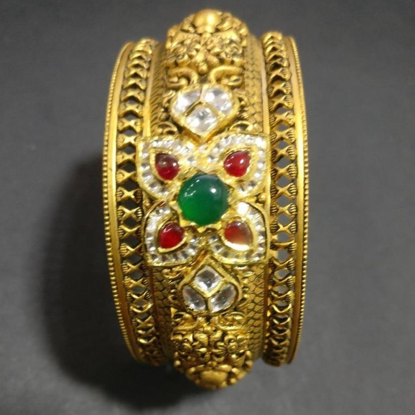 916 gold antique jadtar bangles kg-b001
