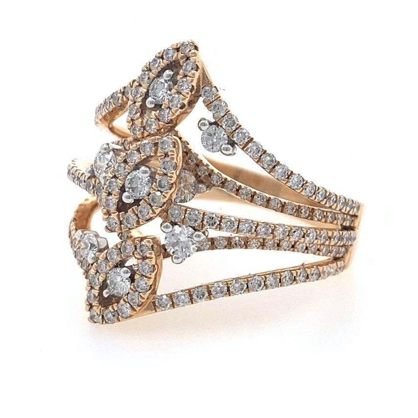 18kt / 750 rose gold evening wear micro set designer diamond ring 8lr50