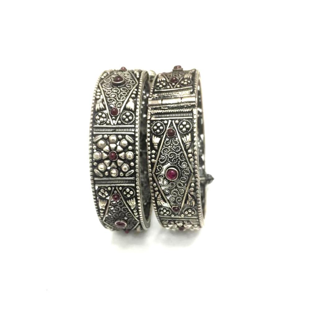 925 Silver Antique Colorful Stone Kada