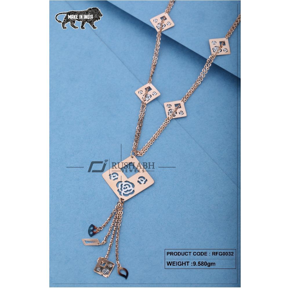 18 carat Ladies rose gold fancy chain square shap rfg0032