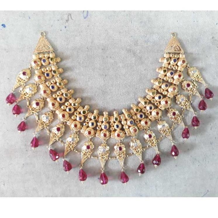 Fancy darbari gold necklace set