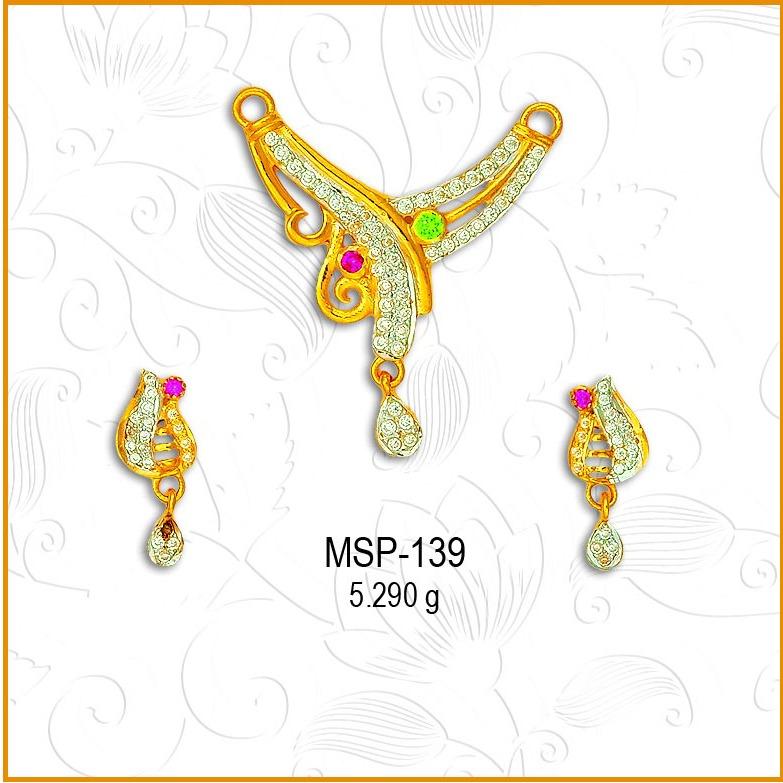 916 Gold Colour Stone CZ Mangalsutra Pendant Set MSP-139
