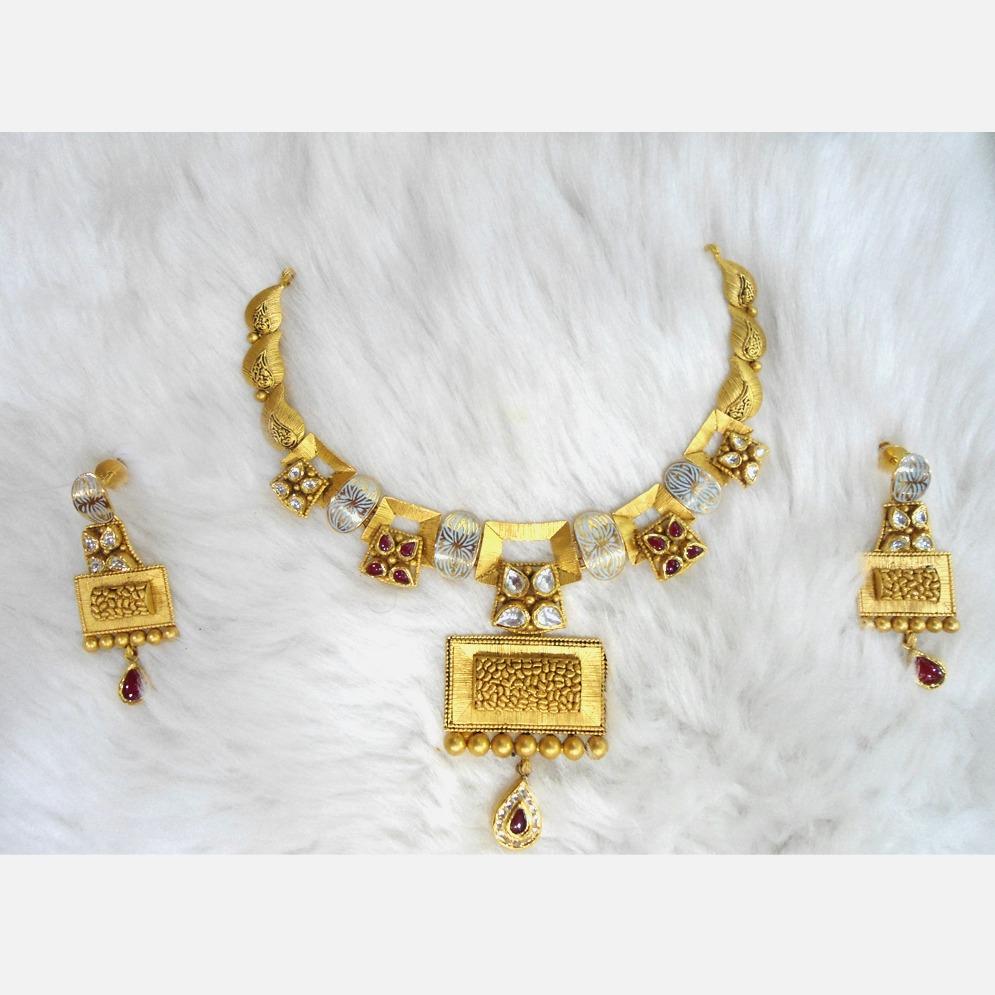 916 Gold Antique Wedding Necklace Set RHJ-5581
