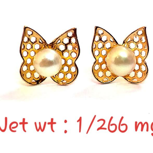 18kt gold Butterfly Design Stud pearl earring