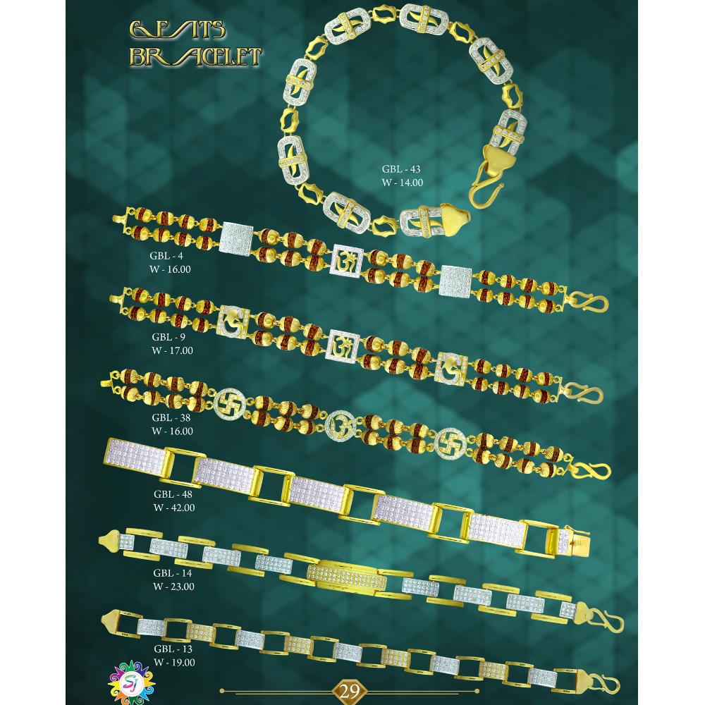 916 GOLD CZ DIAMOND MENS BRACELET