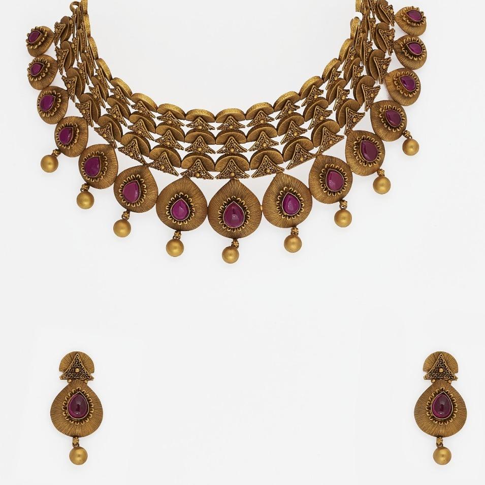 916 Gold Antique Necklace Set  SJ-2022