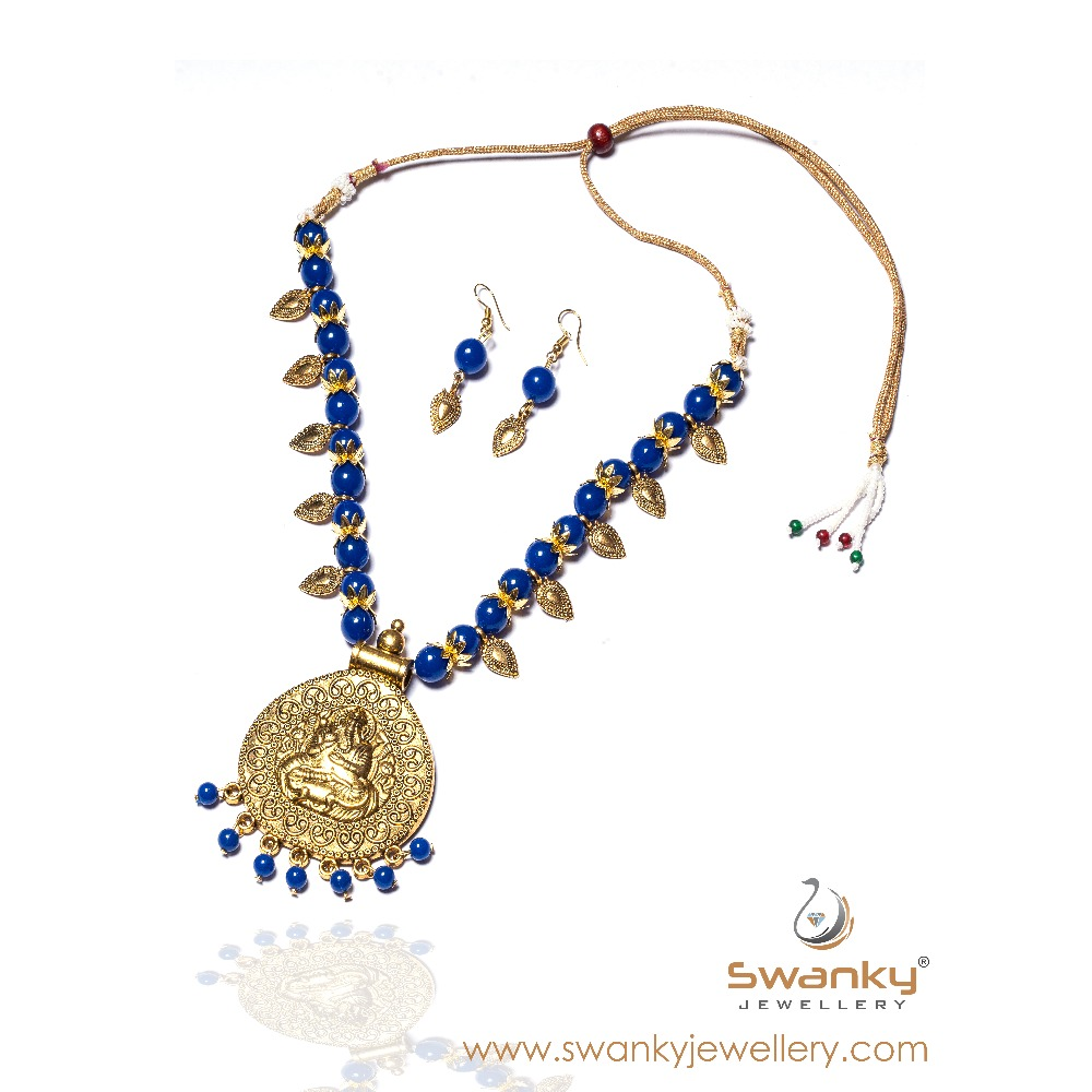 Antique ganesh design with blue beads necklace set sj-n001