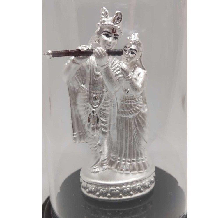 999 pure silver radha-krishna idols