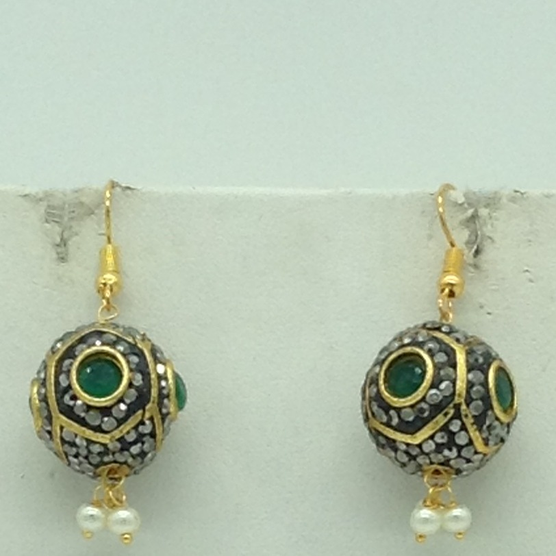 White and Green CZ Balls Graded Necklace Set JNC0131