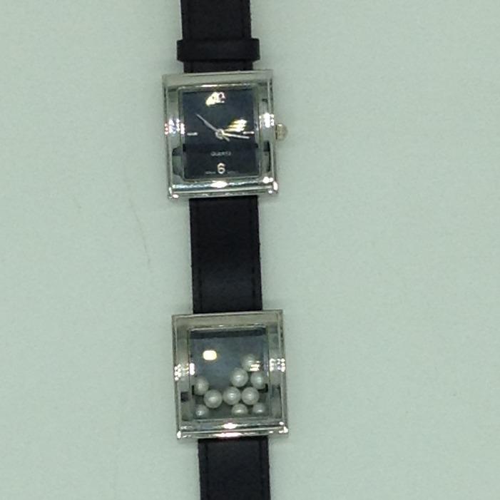 Freshwater white round dancingpearls dual dial watchjbg0226