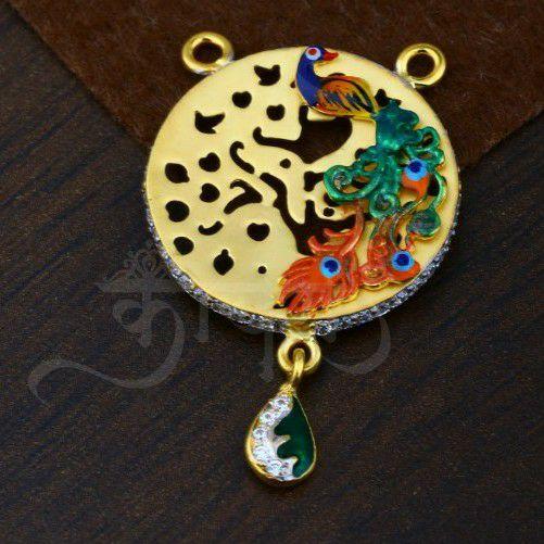 Antique Cum Cz MANGALSUTRA Pendant With Peacock Design In Cz Design
