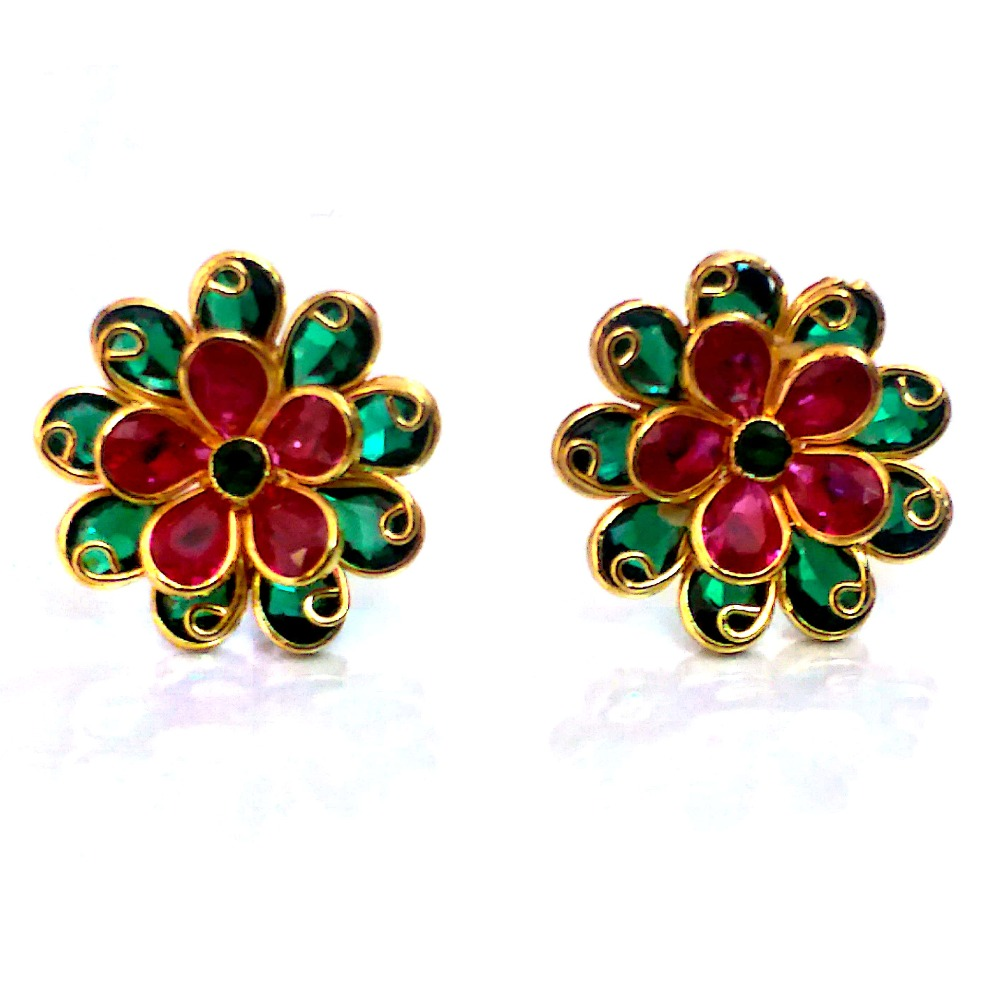 Fancy Color Stone Gold Earrings NJA-E004