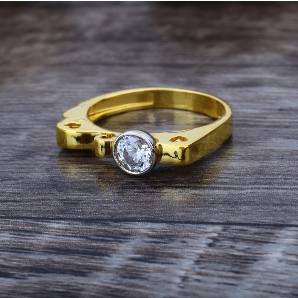 916 CZ Gold Solitaire Diamond Ring JJ-004