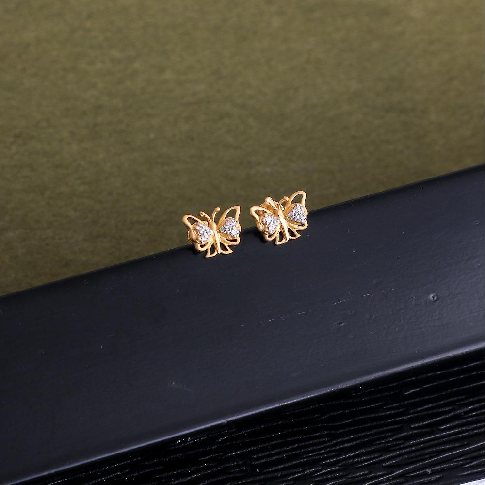 916 gold cz butterfly design earring