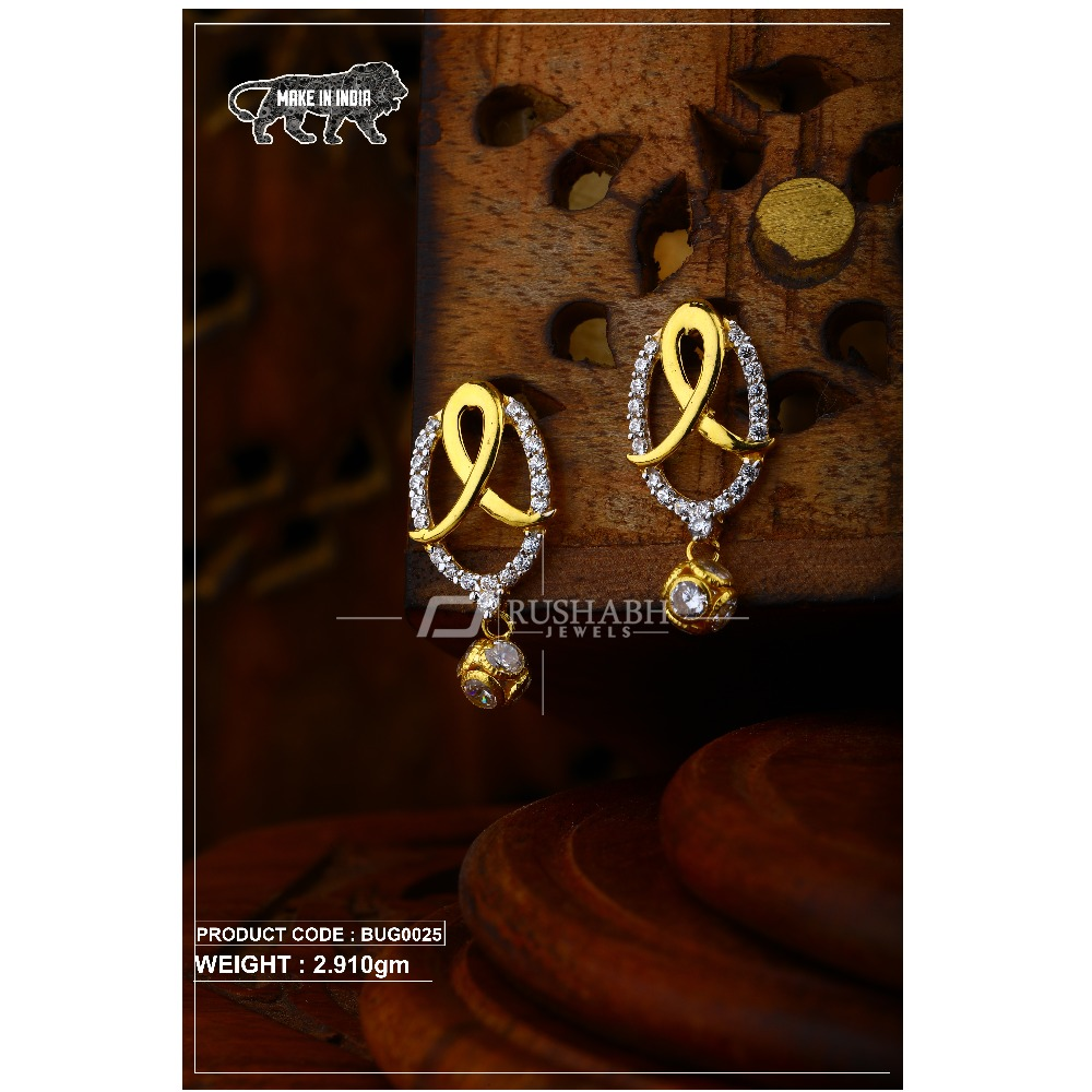 18 carat Gold ladies tops with ball   earrings bug0025