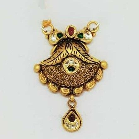 22 KT Gold Oxidised  Designer Antique Pendant