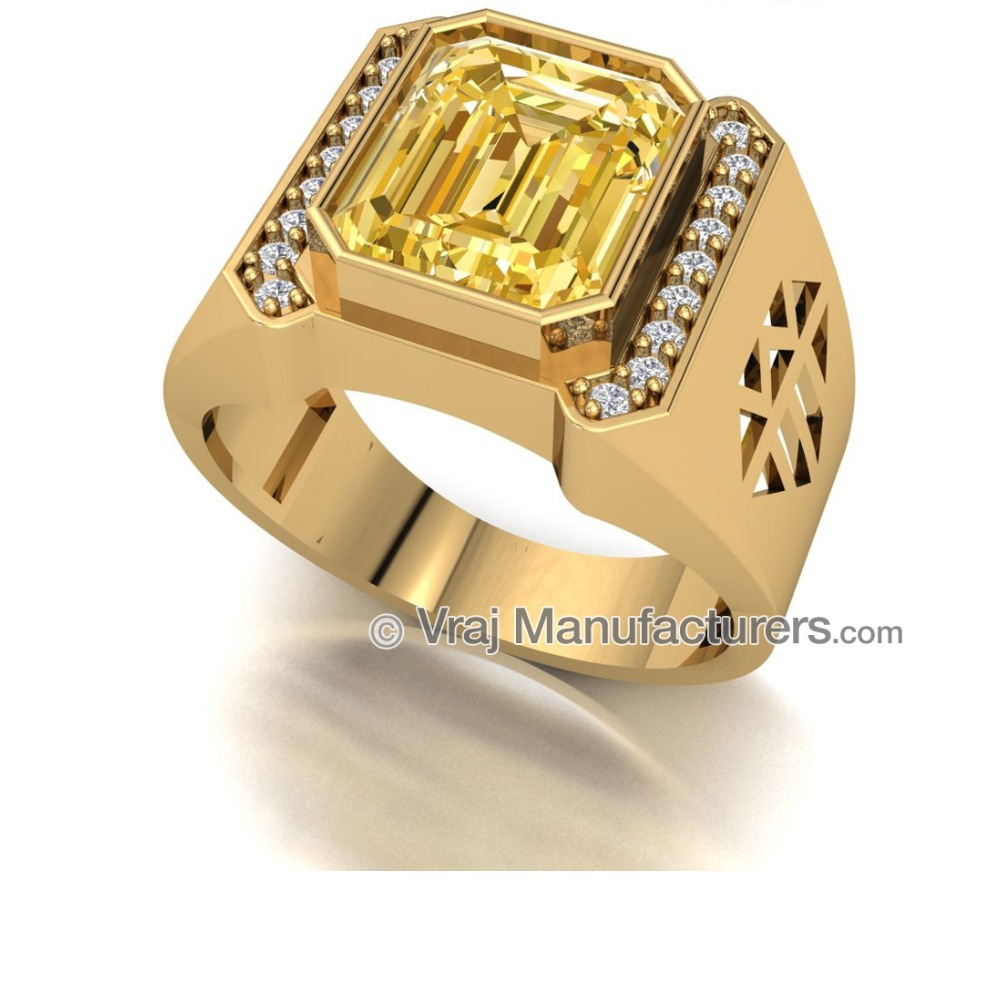 18K Casting Gold Radiant Yellow Sapphire Ring For Men