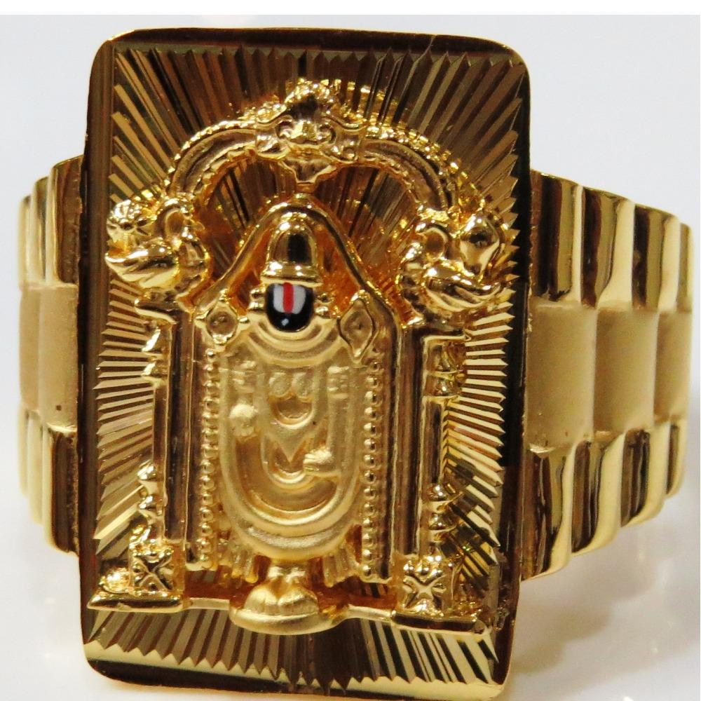 22kt gold plain casting lord balaji fitting classic gents ring