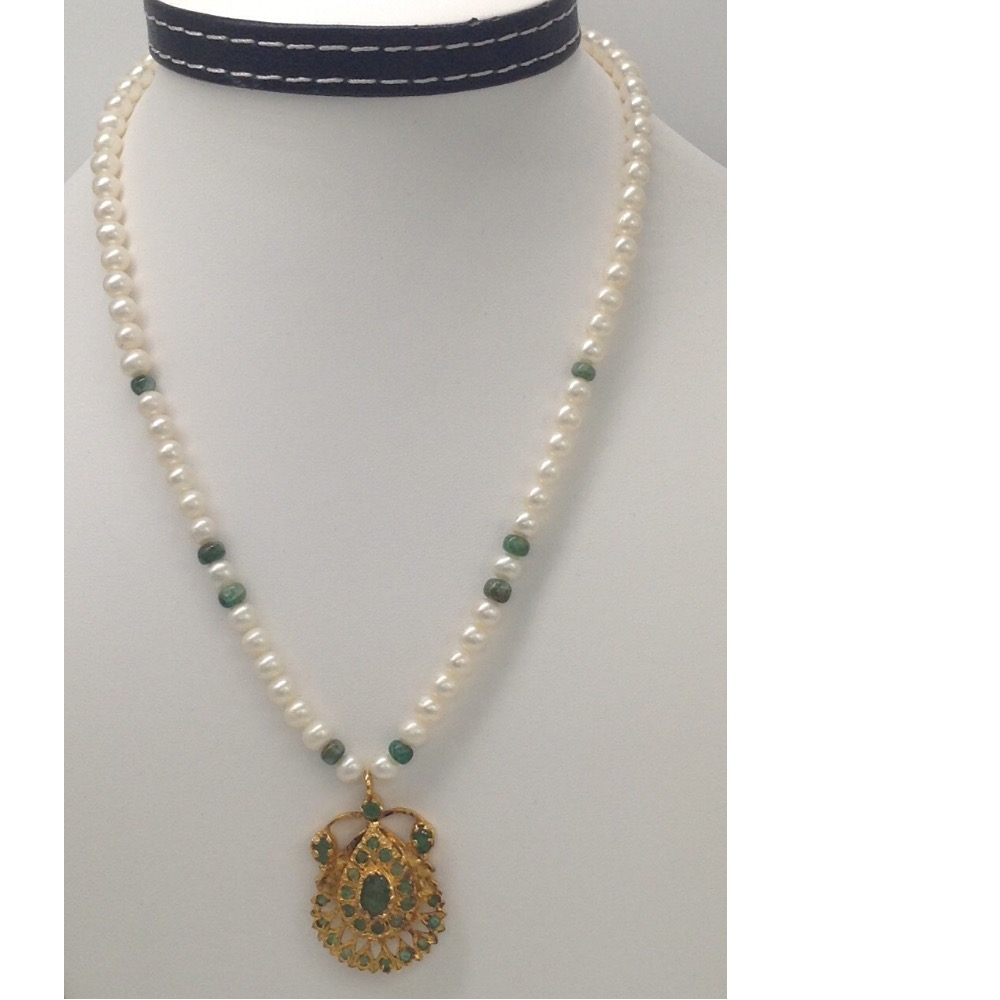Green Emeralds Jugni Pendent Set With RoundPearls Mala JPS0023