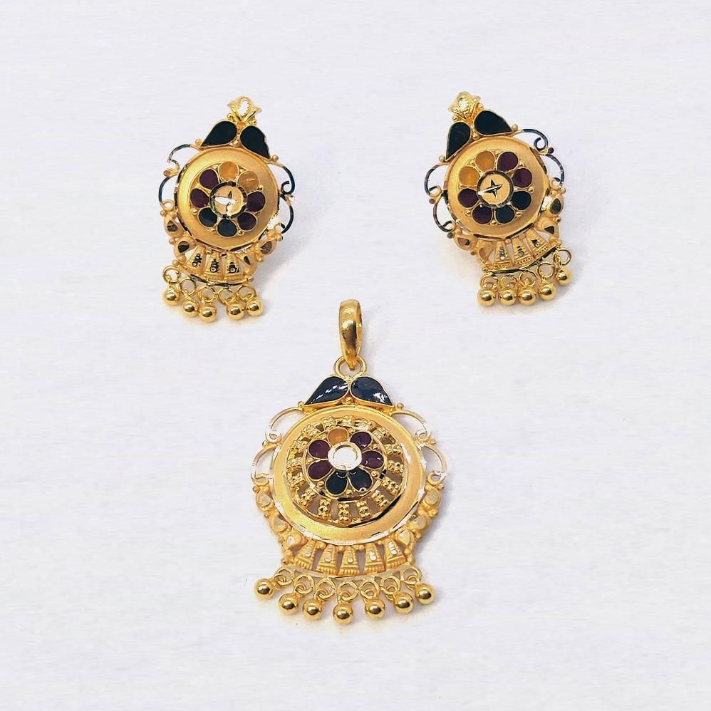 916 Gold Meenakari Pendant Set SK-P002