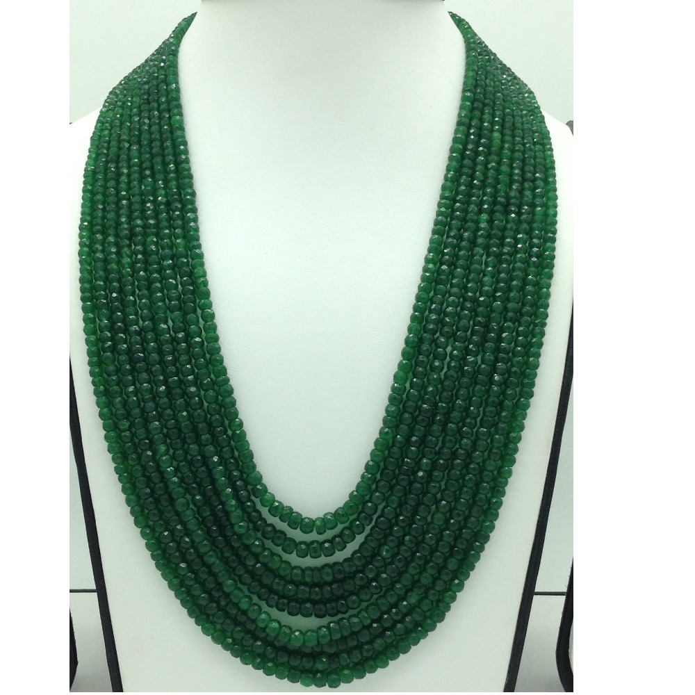 Natural Green BarielsRound Faceted 9 Layers Necklace JSS0130