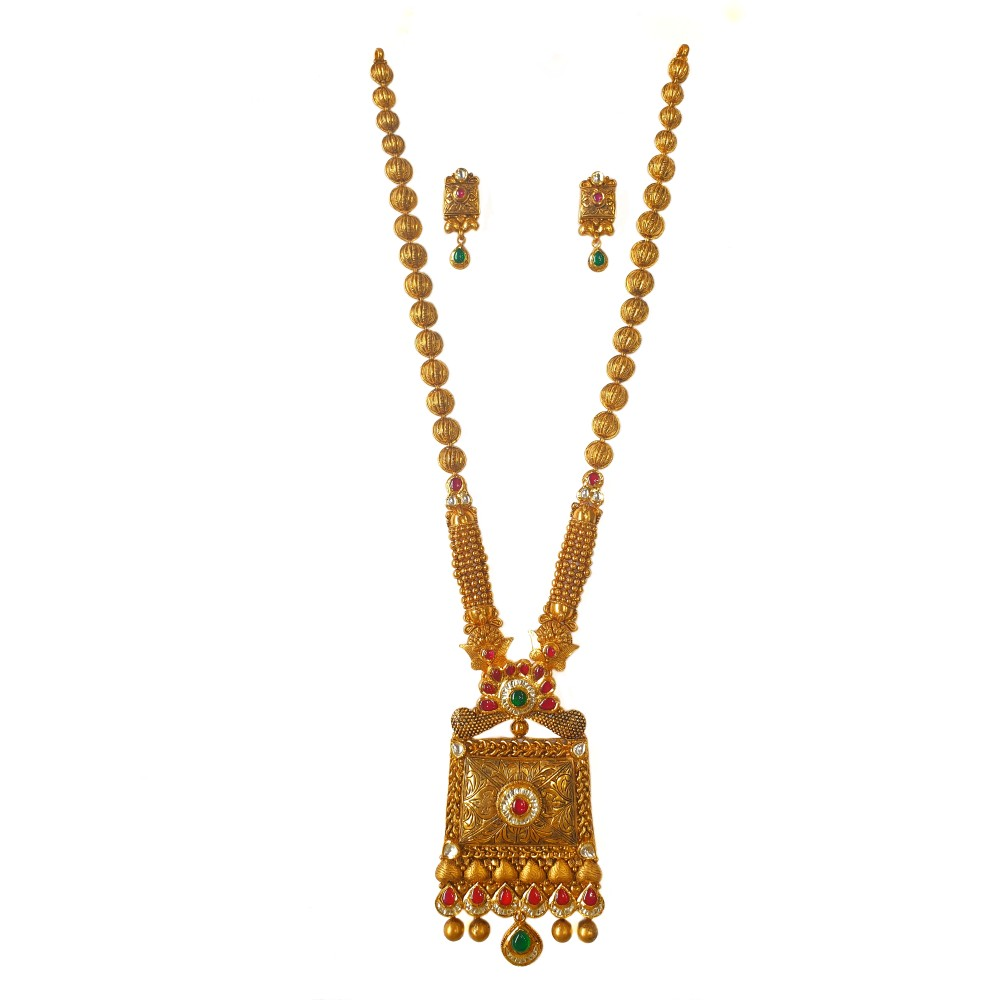 22k gold antique rajwadi complete bridal necklace set mga - gls0097