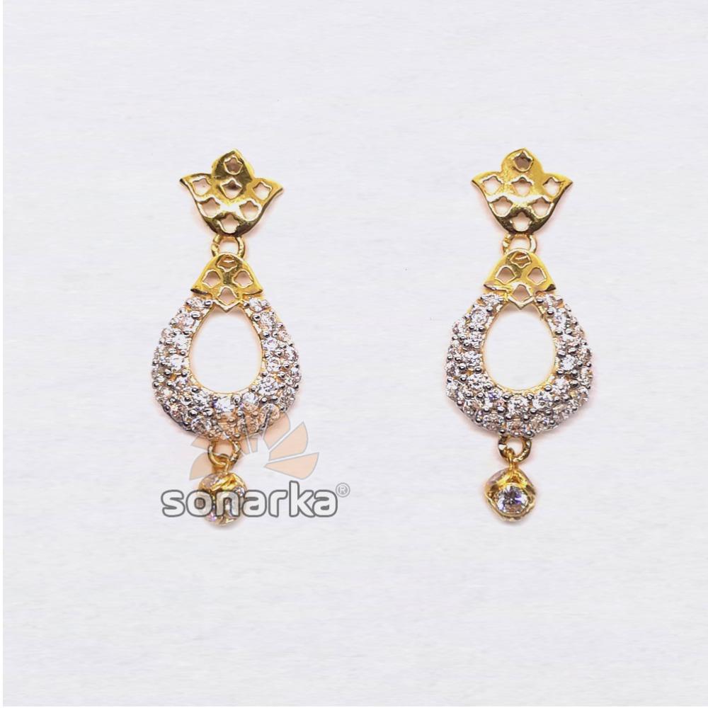 22KT Gold Fancy CZ Diamond Earrings