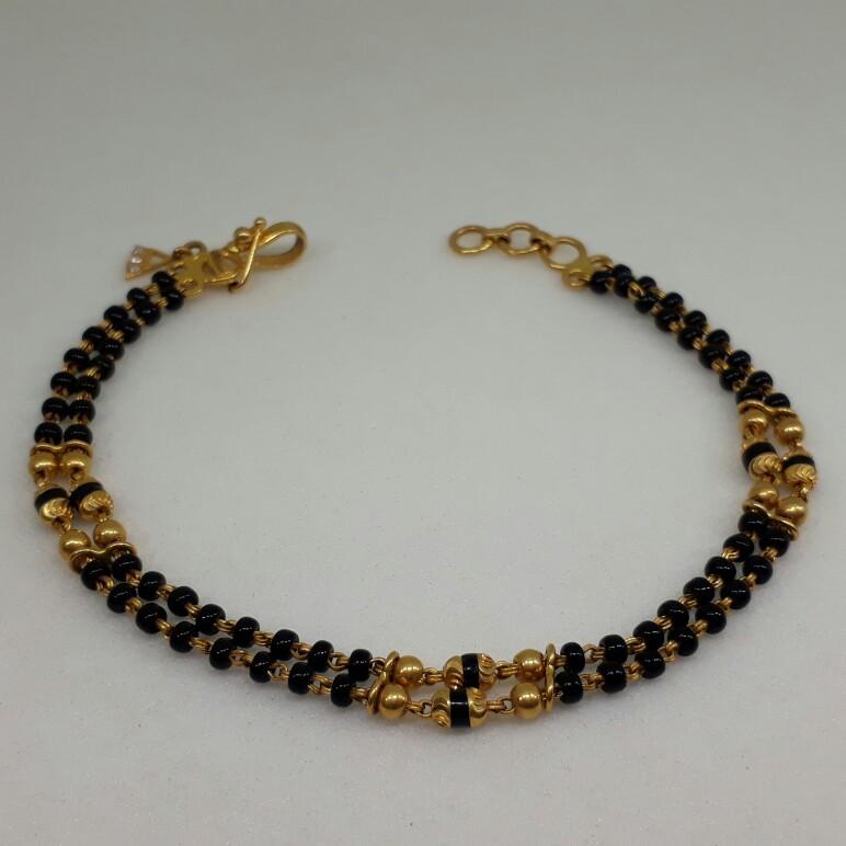22Ct Black Beads Ladies Bracelet lk/682/12