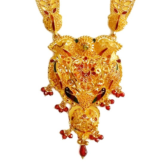 916 Gold Peacock Necklace Set MGA - GLS045