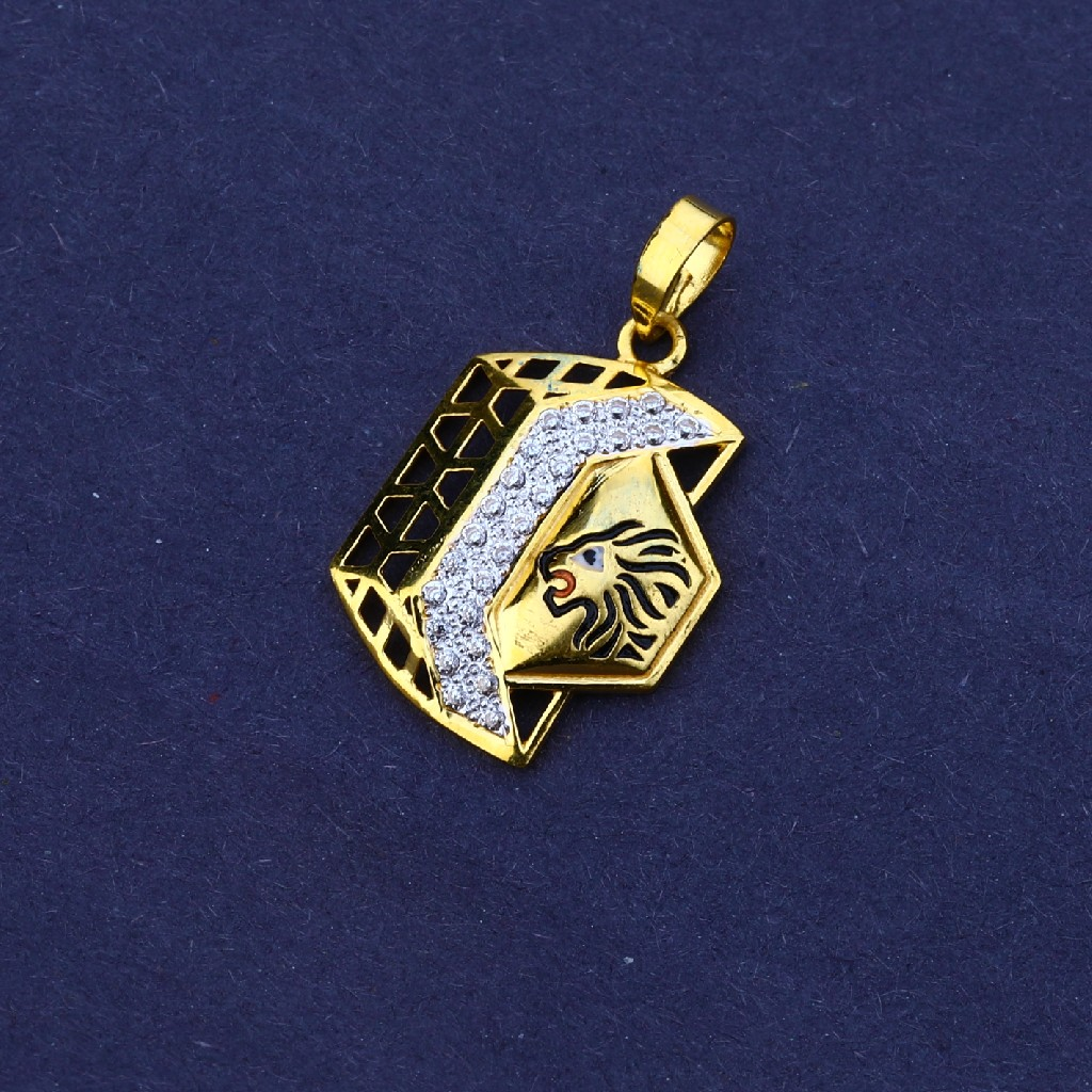916 Gold Cz Classic Men's Pendant MFP14