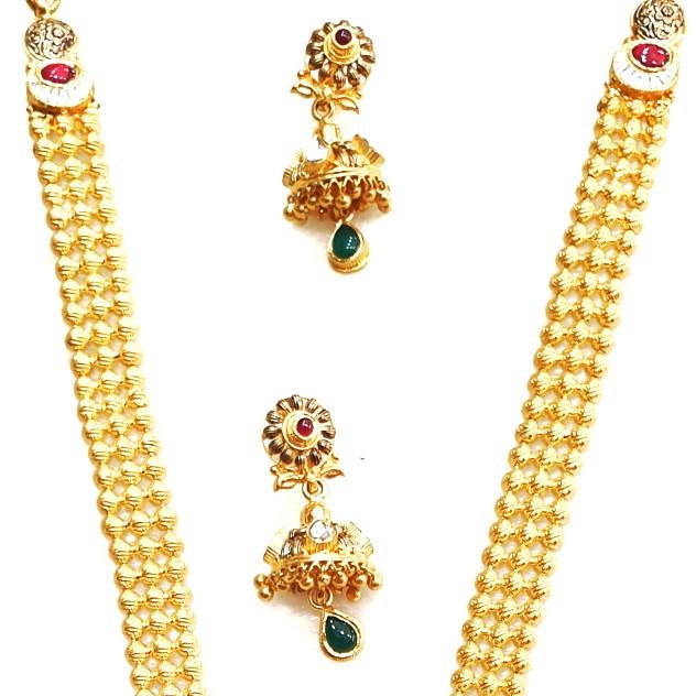 22kt Gold Antique Rajwadi Necklace With Jummar Buti MGA - GLS076