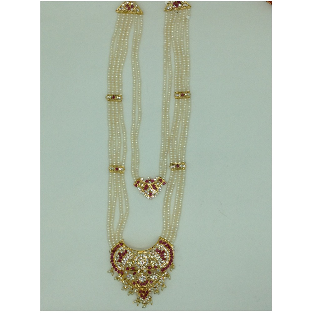 White,Red CZ Step Rani Haar Set With 6 Lines Flat Pearls Mala JPS0663
