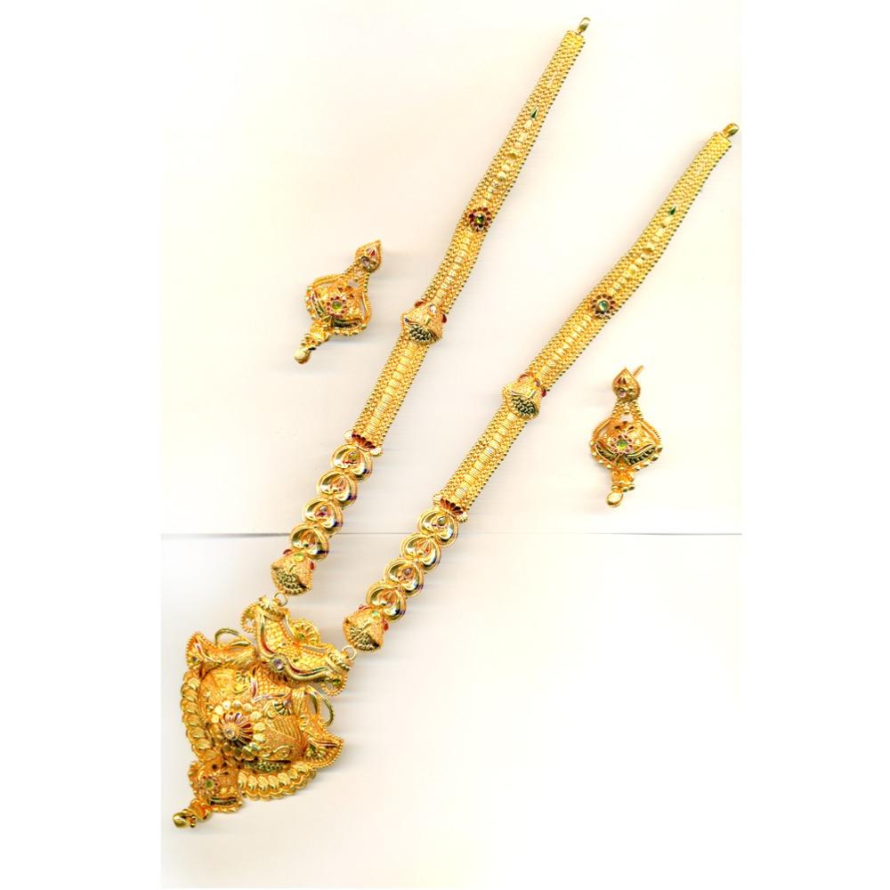 22KT Gold Traditional Long Bridal Necklace Set-20