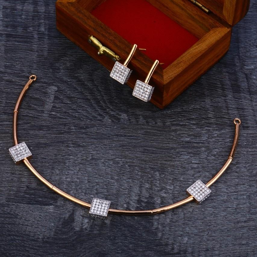 Necklace set rosegold cz 18ct