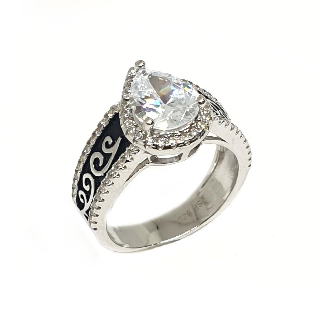 925 Sterling Silver Pear Cut Diamond Ring MGA - LRS3375