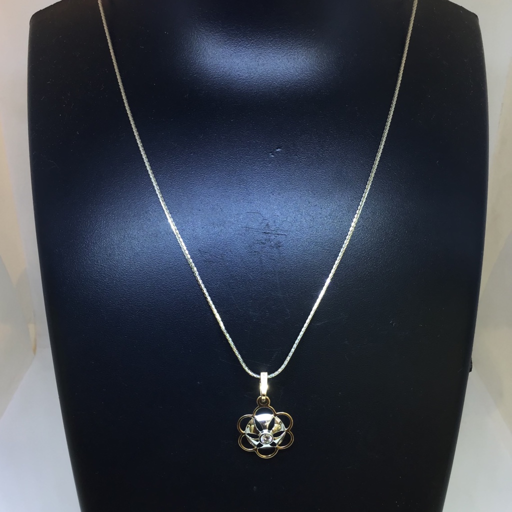 BRANDED FANCY RODIAM CHAIN WITH REAL DIAMOND PENDANT