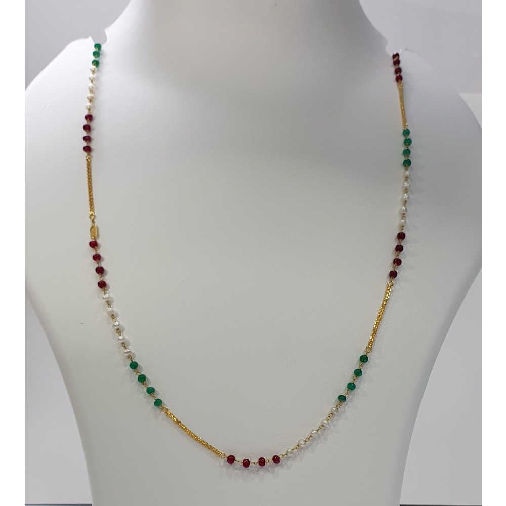 18k gold multicolor beads chain