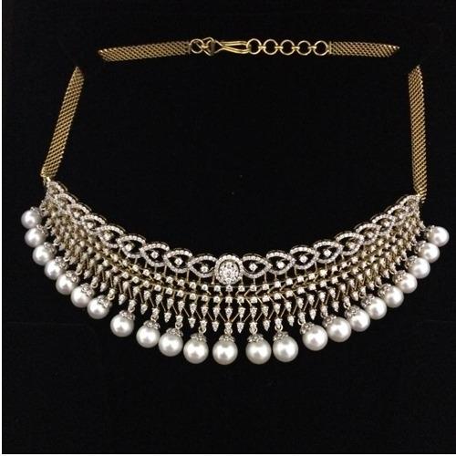 916 Gold Designer Wedding Diamond Choker Set AJ - N004
