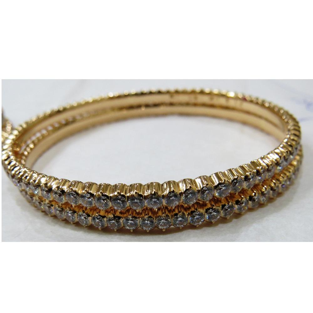 22kt gold close setting cz single stone pinji bangle bd-001