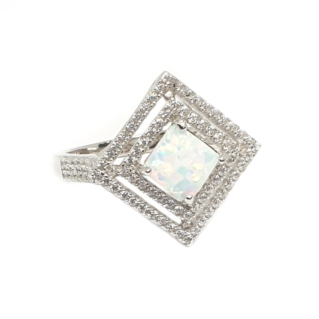 925 Sterling Silver Square Shaped Ring MGA - LRS3374