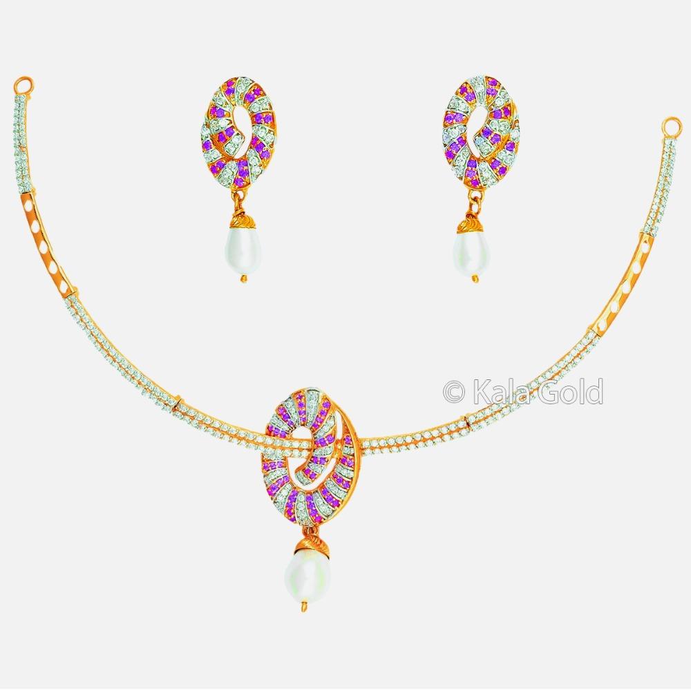22KT Gold Diamond CZ Necklace Set