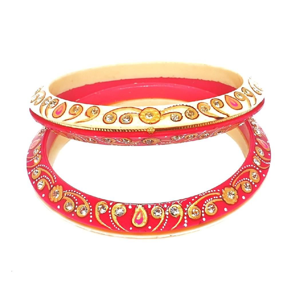 22k gold designer printed chudli bangles mga - cdg0026