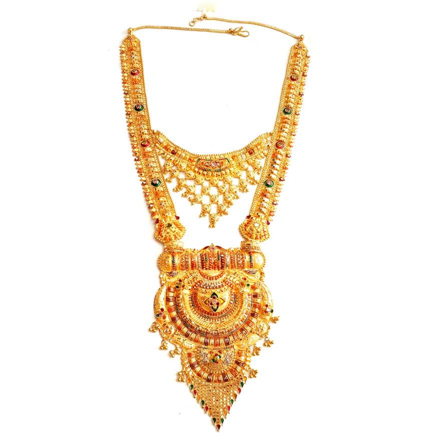 22k Gold Double Decker Rajwadi Necklace MGA - GLS085